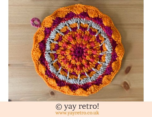 152: 70s Inspired Crochet Mandala Pot Holder / Stand (£13.95)